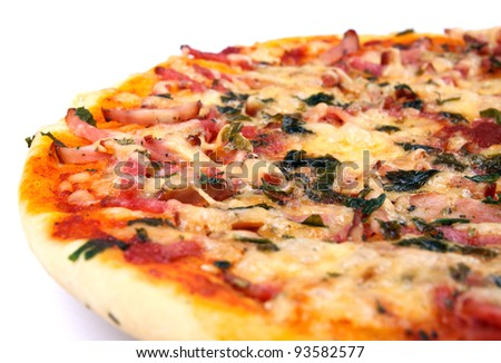 appetizing pizza with salami cheese and greens