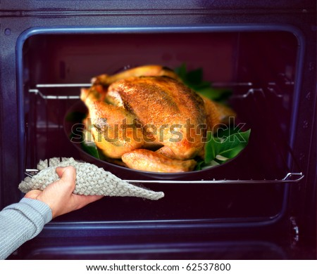 appetizing roast chicken and potatoes in the oven