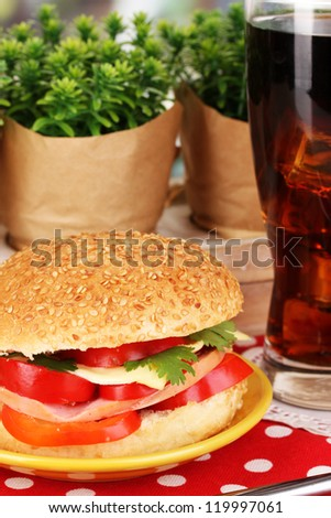 Appetizing sandwich on color plate close-up on wooden table on window background