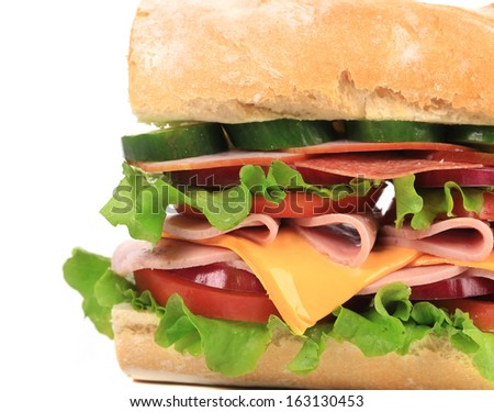 Appetizing sandwich with cheese and sausage. Whole background.