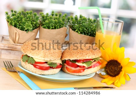 Appetizing sandwiches on color plate on wooden table on window background