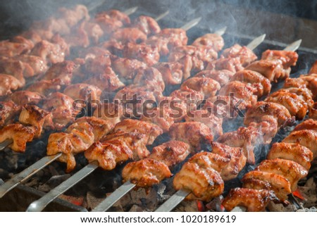 Appetizing shashlik closeup. Kebab on metal skewers on grill.