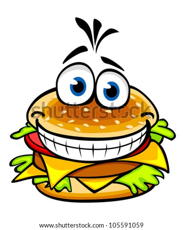 Appetizing smiling hamburger in cartoon style for fast food design, such logo. Vector version also available in gallery