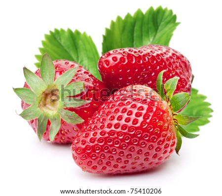Appetizing strawberries with leaves. Isolated on a white background.