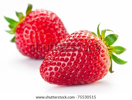 Appetizing strawberry. Isolated on a white background. - stock photo