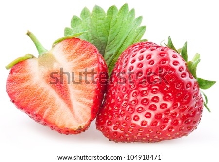 Appetizing Strawberry with leaves. Isolated on a white background.