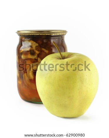 Apple and apple jam on white background