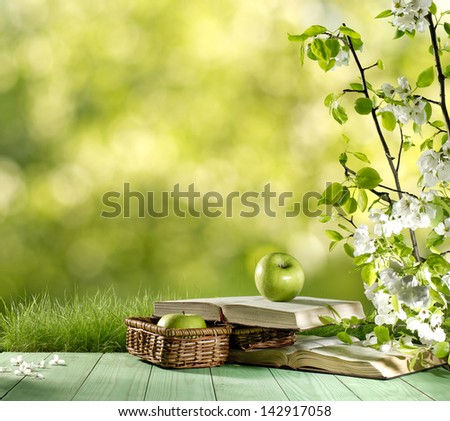 apple and book on green nature background