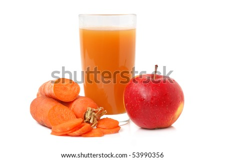 and carrot juice in glass