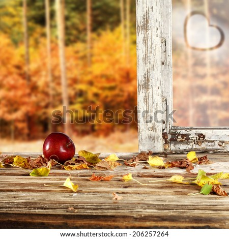 apple and glass with heart