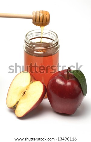 Apple and honey, A snack for the jewish new year, isolated