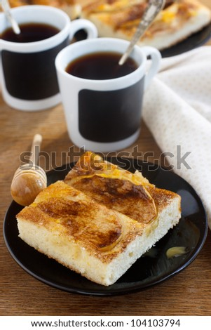 Apple and honey cake with coffee