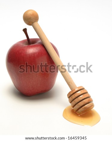 Apple and honey, isolated