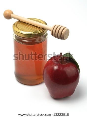 Apple and honey, isolated (Rosh HaShana jewish food)