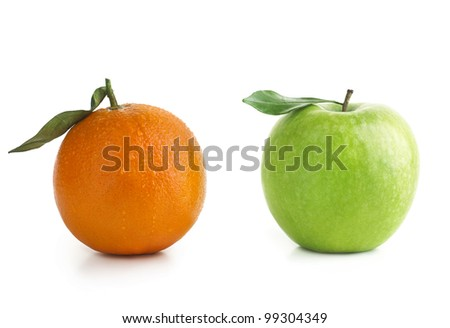 Apple and Orange isolated on white