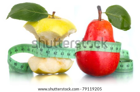Apple and pear with measurement. A waist.