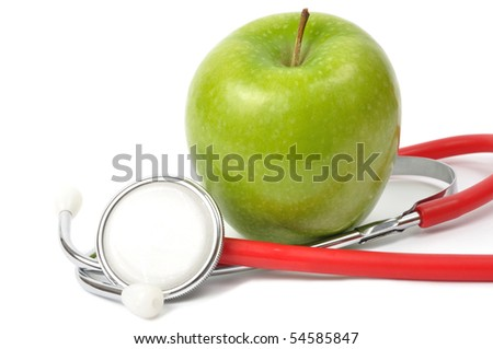 Apple and red stethoscope on white background