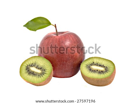 Apple and sections of kiwi fruit
