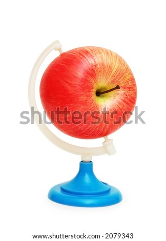 Apple as a globe isolated on white