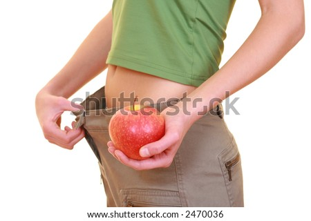 apple belly and big pants - weight loss isolated on white