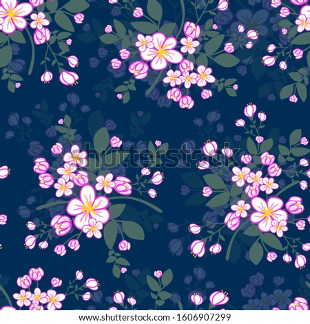 Apple Blossoms chintz pattern blue