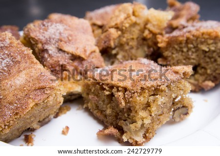 Apple brownie slices on a plate, ready to be presented to hungry guests
