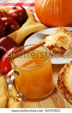 Apple cider and a slice of apple pie