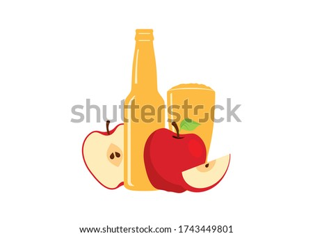 Apple cider icon. Fresh apple drink icon. Apple cider icon isolated on a white background. Glass and bottle of cider with apples illustration. Apple juice illustration