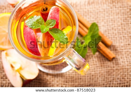 Apple, cinnamon and citrus beverage with twig of mint