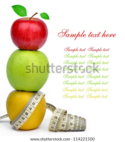 apple collection with measuring tape isolated