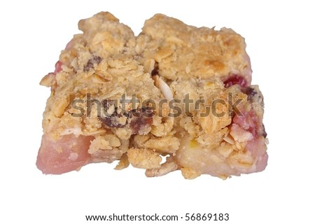 apple crumble with raspberry or cobbler isolated on white background