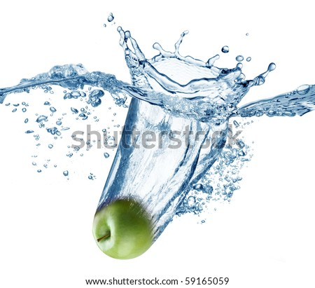 Apple falls deeply under water with a big splash.