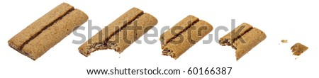 Apple Flavored Cereal Bar Being Eaten Isolated on White with a Clipping Path.