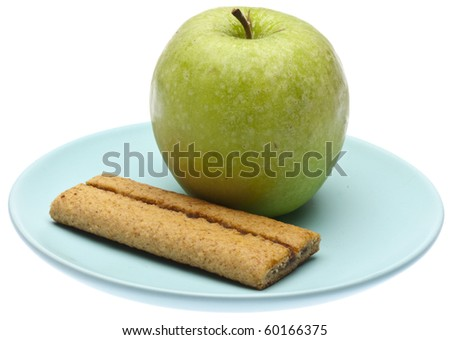 Apple Flavored Cereal Baron a Blue Plate Isolated on White with a Clipping Path.