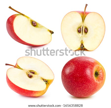 Apple fruits isolated on white background. Apple half clipping path. Apple collection.