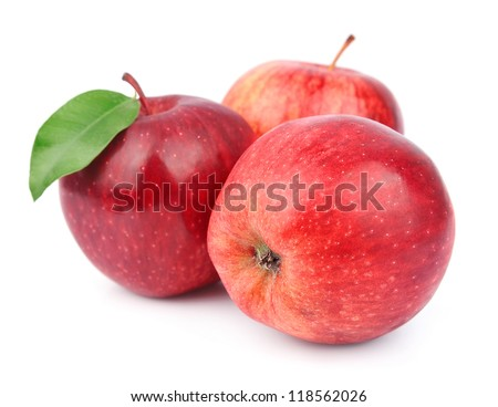 apple fruits with leaves isolated on white background