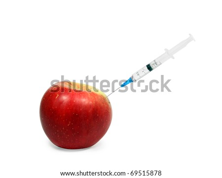 Apple GMO. Apple and syringe