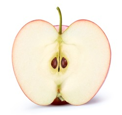 Apple half isolated on white. Apple Clipping Path. Professional studio macro shooting