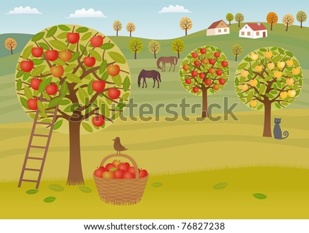 Apple harvest Raster image.