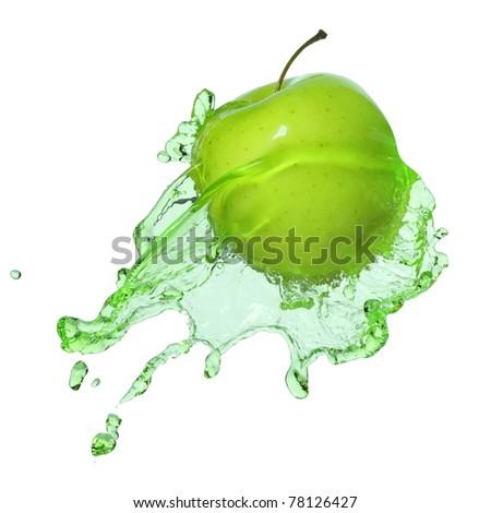 apple in juice - stock photo