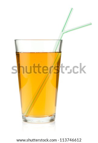 Apple juice in a glass with drinking straws. Isolated on white background