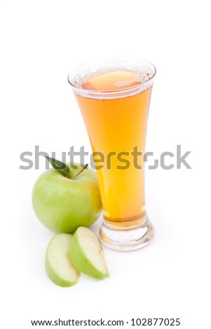 Apple juice ready to drink against a white background