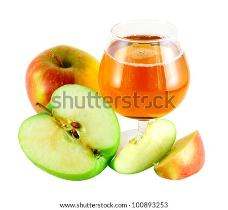 Apple juice with cutted green and red apples isolated on white