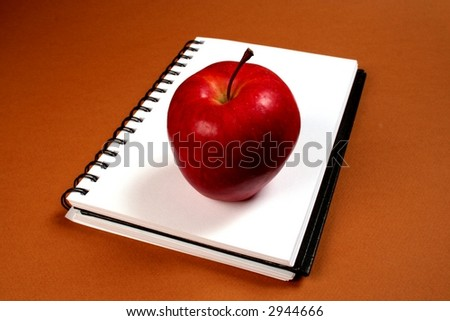 Apple lying on white page of sketchbook