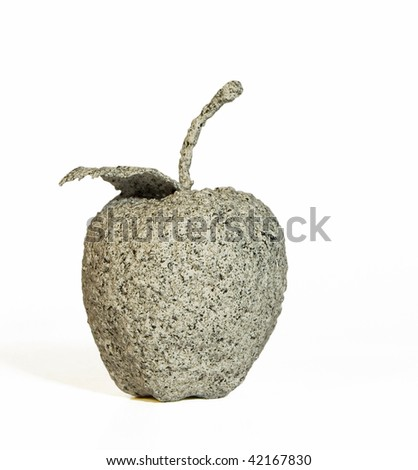 apple made of stone isolated on white background