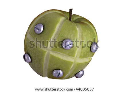 apple manipulated fruit with bolts holding it together