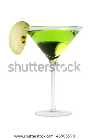 Apple Martini or Appletini mixed drink on white background