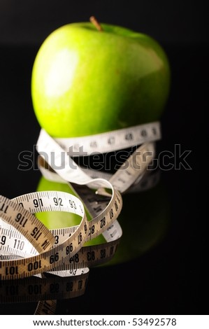 apple, measure and fit - stock photo