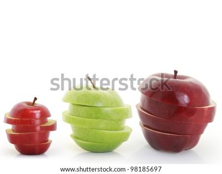 Apple, Mixed Fruit, white background