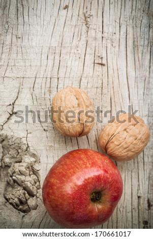 Apple on the wood table